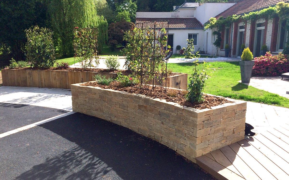 Habiller Un Mur Exterieur En Parpaing maçonnerie paysagère construction mur jardin gétigné